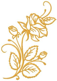 Rose free machine embroidery design