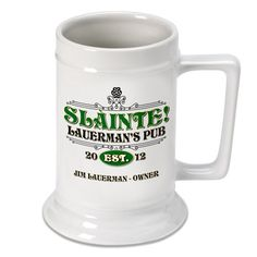 Whether you are Irish or just celebrating St. Patrick's Day, our Slainte Beer Stein is the perfect vessel to hold your favorite brew.