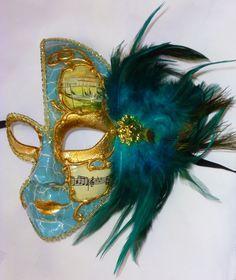 "Diamante con piume /""PIUMA Plaster/"" veneziane Maschera Carnevale Venezia"