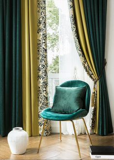 Customized Luxury Retro Green Yellow Blackout Curtain for Living , Embroidery White Tulle Curtains – MyDecorShop Living Room Decor Curtains, Home Curtains, Tulle Curtains, Retro Curtains, Curtain Ideas For Living Room, Modern Curtains, Curtain Styles, Curtain Designs, Living Room Ideas