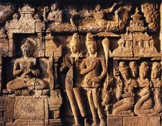 One of hundreds of beautifully preserved wall panels at Borobudur that tell the story of a Sudhana, a son of a wealthy merchant who travels the world in search of wisdom.
