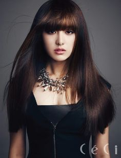 Actress Kim Ji Won Ceci December 2013 issue - she looks sooo gorgeous with bangs ! My fav pic !