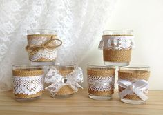 white lace and burlap covered Votive tea candles baby shower bridal shower or wedding decor