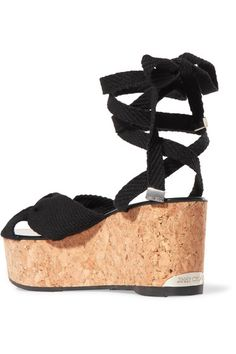 Jimmy Choo - Norah Knotted Canvas Wedge Sandals - Black - IT37.5
