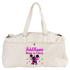 BORN TO CHEER Duffel Bag Awesome personalized tote, gym and lunch Cheerleading bags encourage your terrific Cheerleader. http://www.cafepress.com/sportsstar/10189555  #Cheerleading #Cheerleader #Cheerleadergift #Lovecheerleading #Personalizedcheerleader