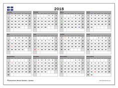 Calendrier 2018, avec les jours fériés du Québec. Calendrier à imprimer gratuit.