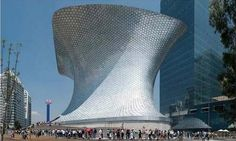 Architecture Picture 1 Museo Soumaya in Mexico City - anvil-shaped museum in Mexico City, with a windowless facade composed of hexagonal aluminium tiles. The Museo Soumaya houses one of the most important art collections in Latin America.