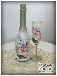 Ever wished you could decoupage on glassware; see our huge collections of glass bottles. Decoupage glass bottles are a cheap, easy way to recycle. Glass Bottle Crafts, Wine Bottle Art, Diy Bottle, Vodka Bottle, Recycled Wine Bottles, Painted Wine Bottles, Bottles And Jars, Wine Bottles Decor, Vintage Bottles