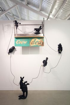 Clive Barstow's 'Crow-Ded' installation from his 'Tomorrow is History' exhibition at Turner Gallery in Northbridge, 2017