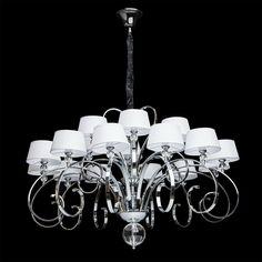 Big crystal chandelier white fabric shade chrome colour clear crystal contemporary baroque 18-bulb Ø120cm CHIARO Retro 386013718