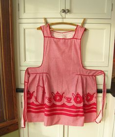 Vintage Apron Full Red Gingham by PassedBy on Etsy, $18.00