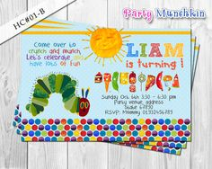 The Hungry Caterpillar Invitations, Hungry Caterpillar Invite for Hungry Caterpillar Birthday - DIY PRINTABLE