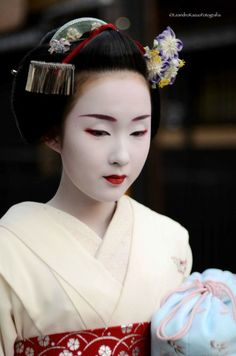 Informal portrait of Kyoka San as a Maiko (now a geisha) in Kyoto, Japan.  Image via Pinterest [thank you Tumblr decay018 for the additional name information]