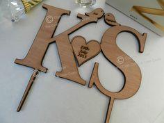 Monogram Initials Wooden Wedding Cake Topper. Love-birds, Butterflies & Hearts