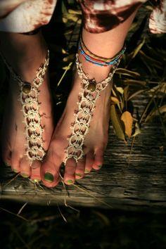 Tatted Foot Thongs. $25.00, via Etsy.