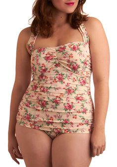 Gardenia Getaway One Piece in Plus Size, #ModCloth so cute!! But it's not in my size!!! Whyyyy?!!!