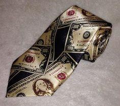 Money Tie One Hundred Dollar Bill Benjamin Franklin Cash Novelty Neckwear Empire