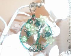 Green Tree of life necklace wire wrapped by DragonflyHJewellery