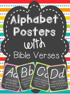 Alphabet Cards with Bible Verses (D'Nealian Font)