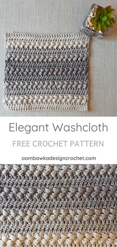 Crochet Stitches Patterns - This post includes my Elegant Washcloth Pattern. This design was created exclusively for the 2018 Washcloth Crochet Along event. You can check out all the other great washcloth patterns, your peers' p. Crochet Simple, Free Crochet, Double Crochet, Knitted Washcloths, Washcloth Crochet, Knit Dishcloth, Crochet Towel, Crochet Dolls, Crochet Angels