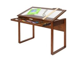 Drafting Table Drawing Desk Glass Top Adjustable Studio Art Architect Storage