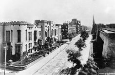 1880: Fifth Ave. looking south from 42nd St. Avenue shops were then undreamed of. The paving was cobblestone. Telegraph wires & poles made streets unsightly. The only lights were flickering gas lamps.