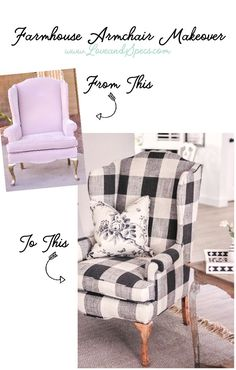 Talking about the BEST way to reupholster an old chair & showing the amazing before & after of our easy farmhouse armchair makeover! | Farmhouse Decor | Black and White Buffalo Check Chair | Black and White Scandinavian Farmhouse | Buffalo Check | Calico Corners Elwood Thunder | Ralph Lauren Ashfield Floral | Easy Reupholstery | Best Way to Reupholster a Chair | Reupholster an Armchair #buffalocheck #blackandwhite #farmhousedecor #farmhousestyle #upholstery #vintagedecor