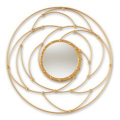 Contemporary Gold Round Accent Wall Mirror - Shanene | RC Willey Furniture Store Circular Mirror, Round Wall Mirror, Round Mirrors, Wall Mirrors, Gold Frame Wall, Frames On Wall, Framed Wall, Wire Frame, Unique Mirrors