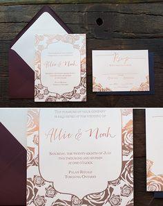 Rose gold foil letterpress wedding invites from @agooddayinc