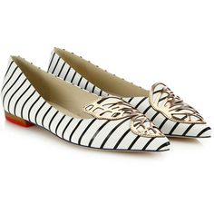Sophia Webster Bibi Nautical-Stripe Leather Butterfly Flats ($370) ❤ liked on Polyvore featuring shoes, flats, apparel & accessories, leather flats, sophia webster shoes, flat shoes, leather pointy toe flats and metallic shoes