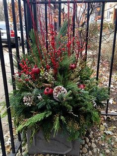 Winter containers that wow! These beautiful accents are perfect for Christmas. Outdoor Christmas Planters, Christmas Urns, Christmas Greenery, Christmas Flowers, Outdoor Christmas Decorations, Winter Christmas, Rustic Christmas, Christmas Holidays, Christmas Wreaths