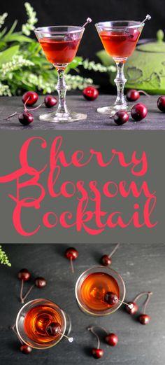 Cherry Blossom Cocktail - sake, gin, cherry liqueur, orange liqueur, grenadine, lemon juice, brandied cherry easy, recipe, cocktail, drink, Hendrick's, sipping drink, spring, #cocktailrecipes