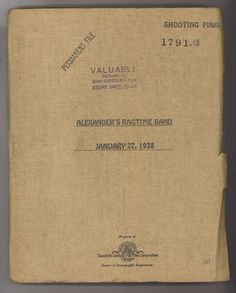 * ALEXANDER'S RAGTIME BAND (1938) Shooting Final Script 01/27/1938 Tyrone Power