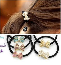 bowknot crystal inlaied elastic hair ring Headband Hair rubber for Women hair Accessories Hair Ornaments Free Shipping FD188