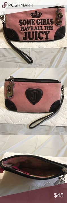 "Juicy couture wristlet designer NEW  soft pink velour with brown leather chain logo in silver and zipped measure 8"" x4.5"" Juicy Couture Bags Clutches & Wristlets"