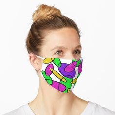 'Coloured Interlocking Oval Pattern' Mask by Paul Corps Mask Design, Face Masks, Snug Fit, Chiffon Tops, Mirrored Sunglasses, V Neck T Shirt, Classic T Shirts, Pattern, Color