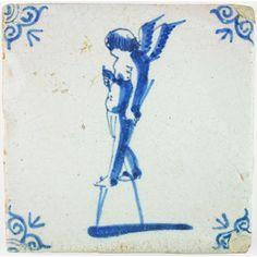 Cupid on stilts antique tile