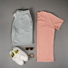 Outfit grid - Men's activewear - Doris Home Stylish Mens Outfits, Cool Outfits, Summer Outfits, Casual Outfits, Men Casual, Stylish Clothes, Stylish Eve, Basic Outfits, Summer Shorts