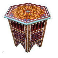 Moroccan Octagonal Moucharabieh Handpainted Table Arabic Design Furniture Red #Handmade #Moroccan
