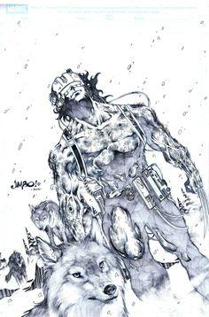 Weapon X, in Eddie Rausch's Jimbo Salgado Comic Art Gallery Room Wolverine Art, Logan Wolverine, Wolverine Cosplay, Deadpool Wolverine, Daredevil, Comic Book Artists, Comic Artist, Comic Books Art, X Men