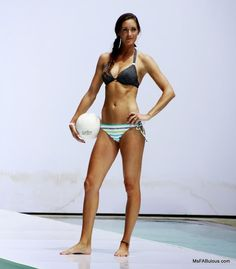 striped bikini worn by pro-Volleyball star Cristal Engle at the Oakley Fashion Show Miami