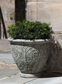 Campania International, Inc Arabesque Cast Stone Pot Planter Size: Medium, Finish: Ferro Rustico Stone Planters, Large Planters, Outdoor Planters, Ceramic Planters, Planter Pots, Planter Garden, Garden Pots, Outdoor Decor, Outdoor Art