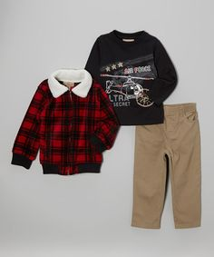 Red Plaid Fleece Jacket Set - Toddler & Boys #zulily #zulilyfinds