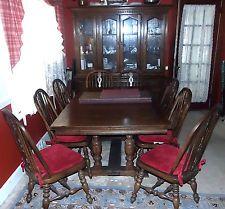 Retro Vintage Antique Ethan Allen Large 11pc Royal Charter Oak Dining Room Set