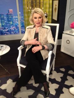 What Joan Rivers wore on April 7. BLAZER: ETRO  JEWELRY: Cezua
