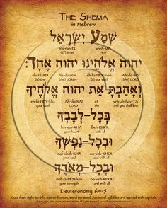 The Shema Prayer Hebrew Poster with complete transliteration and translation into English. Learn the Shema prayer in Hebrew. Shema In Hebrew, Hebrew Prayers, Hebrew Bible, Learn Hebrew, Hebrew Words, Bible Teachings, Bible Quotes, Bible Verses, Scriptures