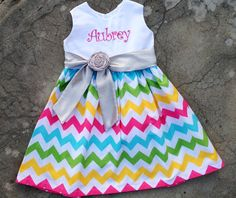 Girls monogrammed chevron Easter Dress Rainbow / multi-color spring baby shower gift or birthday outfit