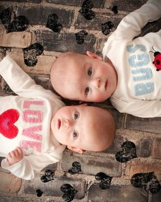 Valentine's Day Love Bugs TWIN Bodysuits Set , Great Shower gift for TWINS or siblings,  love, valentine