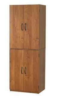Tall Storage Cabinet with 4 Doors Pantry Cupboard Has Two Adjustable Shelves and One Fixed Shelf. Guaranteed. Kitchen Cabinets Store Cookbooks and Pantry Goods. Use in Bedroom or Dorm for Linens, Towels. In the Garage, It's a Utility Supply Closet.