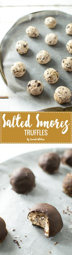 These Salted S'mores Truffles are a mess of marshmallow cream, graham crackers and chocolate chips coated with dark chocolate and sea salt. | Crumb Kitchen